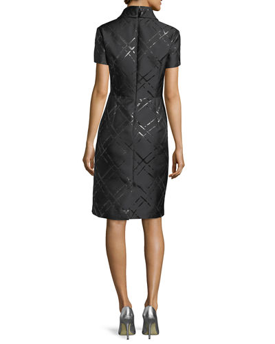 Broken Plaid Jacquard Roll-Neck Dress