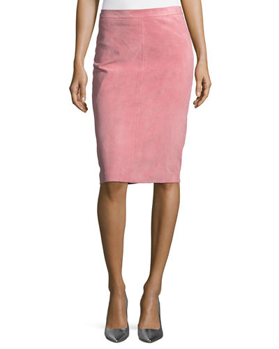 Goat Suede Pencil Skirt