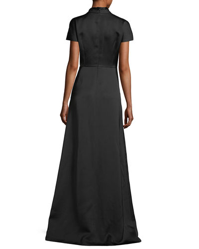 Duchesse Satin Beaded V-Neck Gown