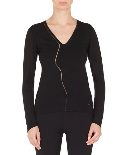 Zigzag Tulle Inset V-Neck Long-Sleeve Cashmere-Silk Stretch Top