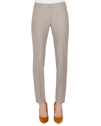 Melvin Slim Straight-Leg Wool Flannel Stretch Pants