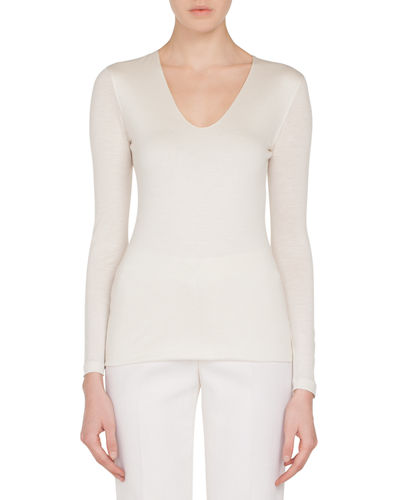 V-Neck Long-Sleeve Cashmere-Silk Jersey Top