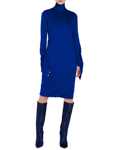 Mock-Neck Draped-Sleeve A-Line Cashmere-Silk Jersey Dress