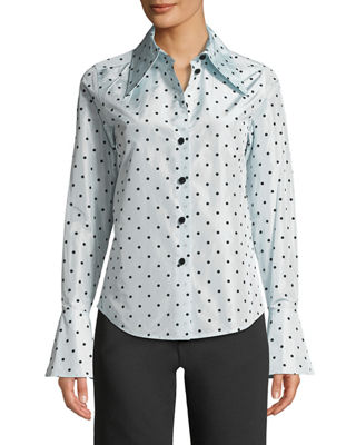 Marc Jacobs Long-Sleeve Button-Down Flocked-Dot Silk Blouse w/