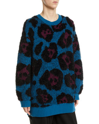 Leopard-Jacquard Metallic Long-Sleeve Crewneck Tunic Sweater in Blue