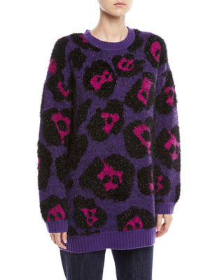 Leopard-Jacquard Metallic Long-Sleeve Crewneck Tunic Sweater, Purple Pattern