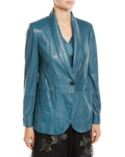 Shawl-Collar One-Button Leather Blazer w/ Monili Trim