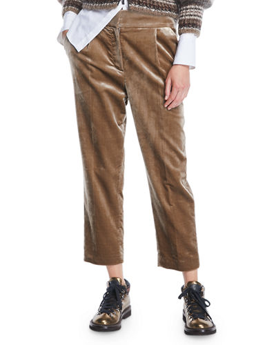 7d9a5a92cd1e Pleated Cropped Pants | Neiman Marcus