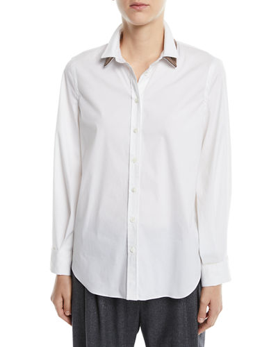 Long-Sleeve Button-Front Cotton Shirt w/ Monili Trim