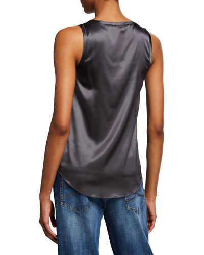 Silk-Stretch Satin Scoop-Neck Tank Top