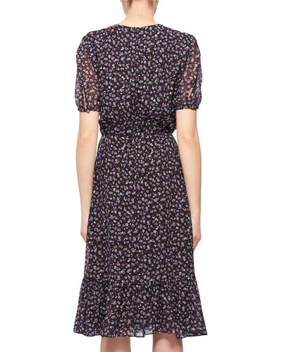 Short-Sleeve Floral-Print Silk Dress
