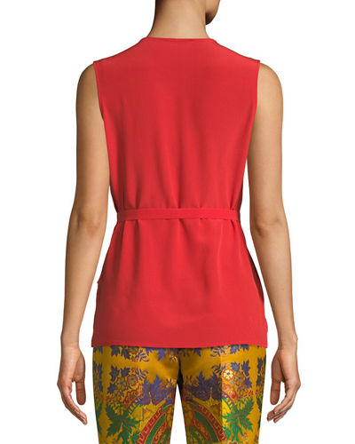 V-Neck Sleeveless Tie-Waist Silk Cady Top