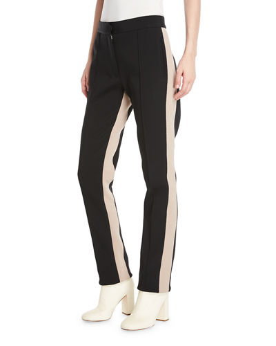 Slim Side-Stripe Straight-Leg Stretch-Cady Pants