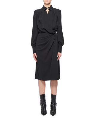 Altuzarra Kat Long-Sleeve Wrap Side-Drape Shirtdress