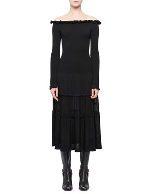 Vendaval Off-The-Shoulder Long-Sleeve Smocked Tiered Midi Dress in Black