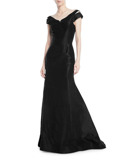 Off-the-Shoulder Trumpet Evening Gown w/ Shoulder Slit