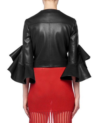 Ruffle Elbow-Sleeve Fitted Cropped Lambskin Leather Biker Jacket