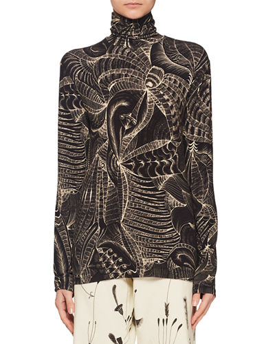 Jewel-Neck Long-Sleeve Tattoo-Print T-Shirt