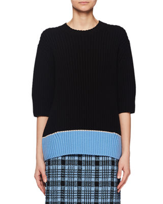 Dries Van Noten Crewneck Elbow-Sleeve Chunky Ribbed Wool