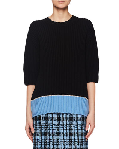 Crewneck Elbow-Sleeve Chunky Ribbed Wool Sweater w/ Colorblock Hem