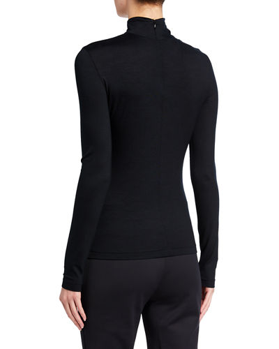 Turtleneck Long-Sleeve Modal-Stretch Top