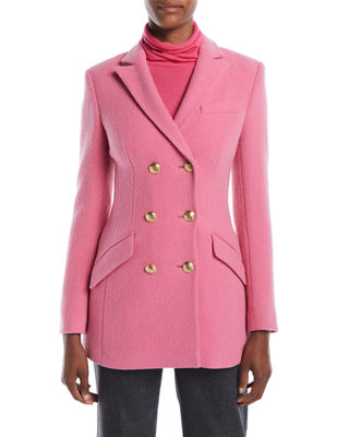 Escada Double-Breasted Boiled Wool-Blend Evening Jacket w/ Golden