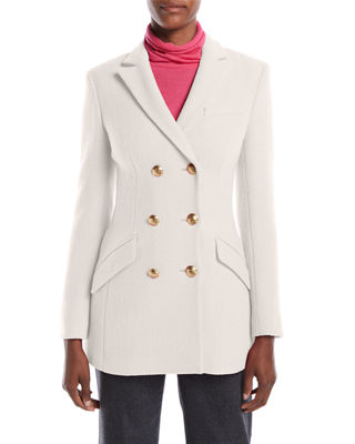 ESCADA Double-Breasted Boiled Wool-Blend Evening Jacket W/ Golden Buttons in Light Pink