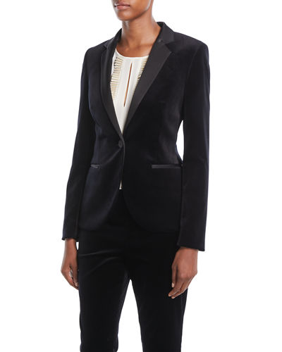 One-Button Welt-Pockets Velvet Jacket w/ Satin Notch Lapels