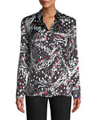 Escada Button-Front Long-Sleeve Feather-Print Silk Blouse and