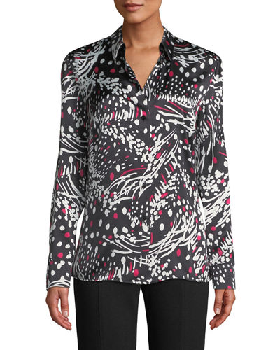 49bc688f716044 Quick Look. Escada · Button-Front Long-Sleeve Feather-Print Silk Blouse