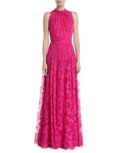 Sleeveless Halter Ruffle-Neck A-Line Lace Evening Gown