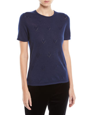 Escada Round-Neck Short-Sleeve Heart-Pointelle Cashmere Pullover