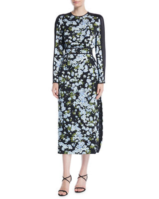 Escada Long-Sleeve Floral-Print Hammered Silk Midi Dress w/