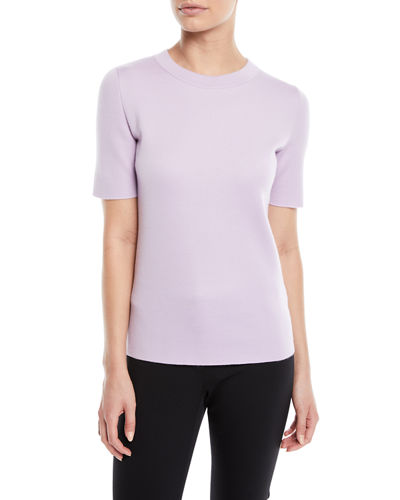 Crewneck Short-Sleeve Sponge-Cashmere Top