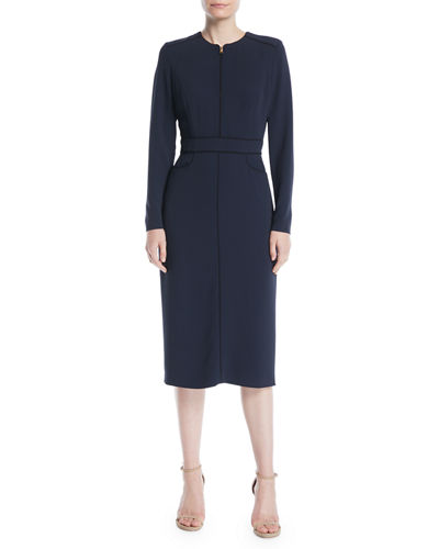 Long-Sleeve Zip-Front Mid-Length Sheath Dress