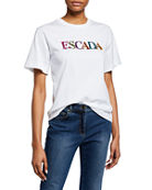 Escada Encrusted-Jewel Logo Crewneck Short-Sleeve Cotton T-Shirt