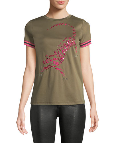 Crewneck Short-Sleeve Tiger-Embroidered Cotton Tee w/ Striped Knit