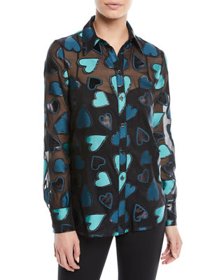 Escada Button-Front Long-Sleeve Heart-Devore Blouse w/ Tank