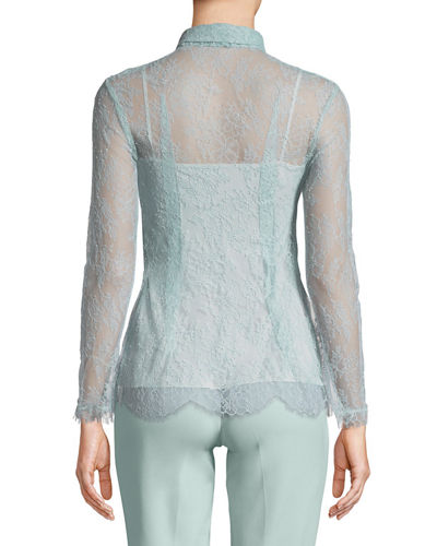 Long-Sleeve Chantilly Lace Blouse with Removable Tie & Cami