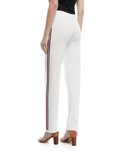Fair-Isle Straight-Leg Pants with Side Trim