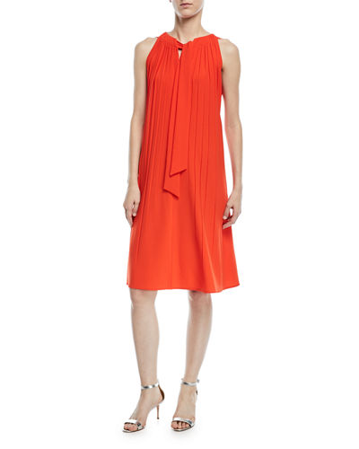 Sleeveless Tie-Neck A-Line Plisse Crepe Dress