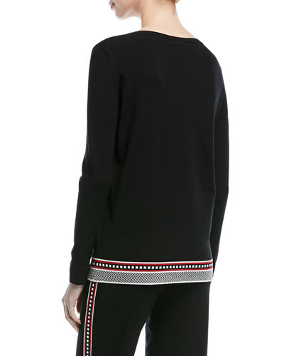 V-Neck Long-Sleeve Pullover Top with Contrast Trim