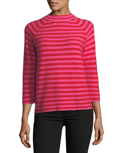 Mock-Neck Elbow-Sleeve Striped Sweater