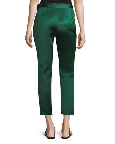 Satin Straight-Leg Trousers