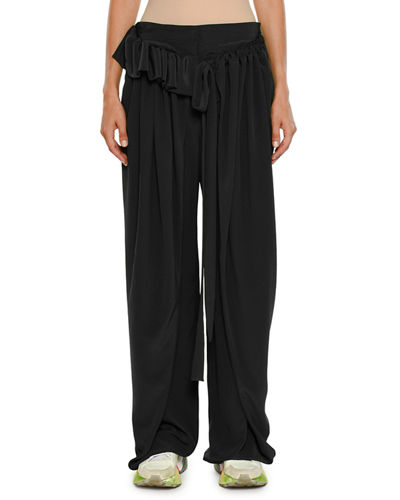 Stella McCartney Apron-Front Wide-Leg Silk Crepe De Chine Pants