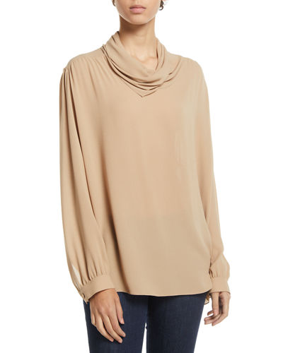 Runa Cowl-Neck Long-Sleeve Silk Top