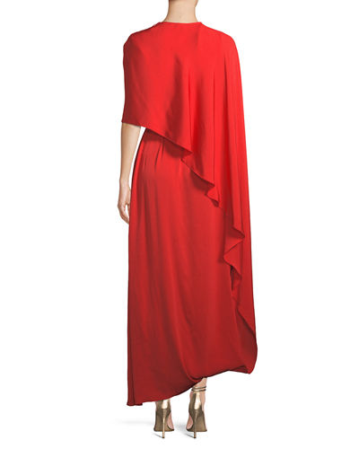 One Side Long Cape Belted Jersey Evening Gown