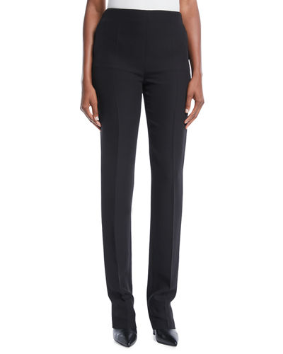 Side-Zip Silk Cady Skinny Pants