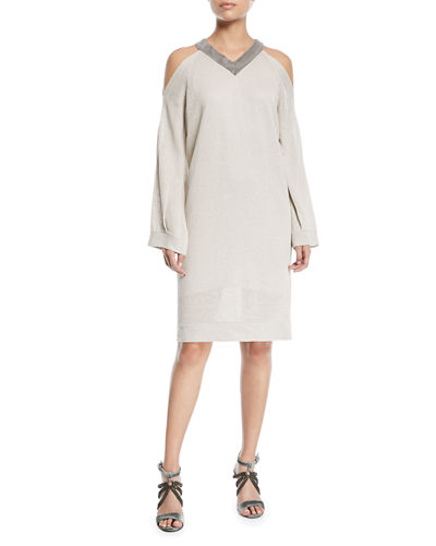 Brunello Cucinelli V-Neck Cold-Shoulder Linen Silk Paillette Tunic Dress