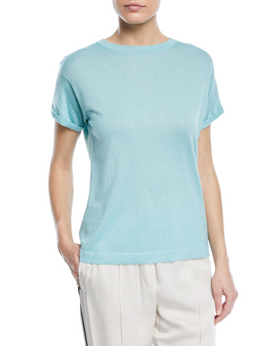 Crewneck Short-Sleeve Cashmere Lurex® T-Shirt